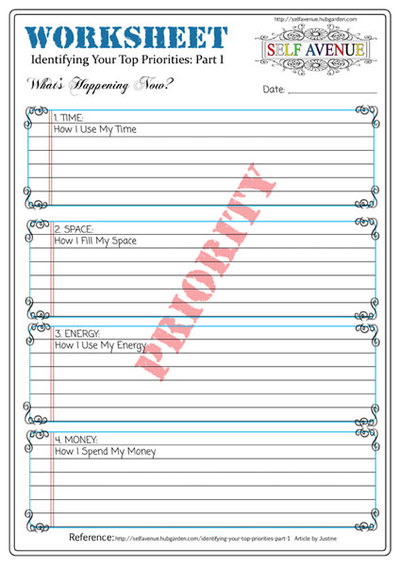 Printables Self Improvement Worksheets printable worksheet priorities 1 self avenue